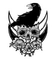 With a human skull raven and vector image