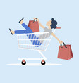 woman sitting in shopping cart with bag vector image vector image