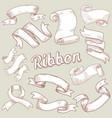 hand drawn ribbons set vintage decoration vector image