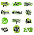 set of hand drawn emblems eco food organic food vector image