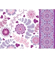 Set of vintage floral seamless pattern and border vector image