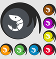 Shrimp seafood icon sign Symbols on eight colored vector image