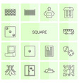 14 square icons vector image vector image