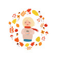 adorable cute autumn set with girl and leaves vector image vector image
