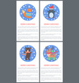 animal set of icons in circle vector image vector image