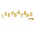 balloon gold glitter numbers set vector image