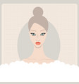 beautiful caucasian young woman taking bath with vector image vector image