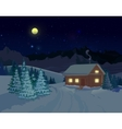 Beautiful Winter Landscape With House vector image vector image