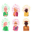 cartoon old people qestions thinking set vector image vector image