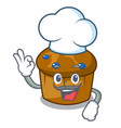 chef mufin blueberry character cartoon vector image