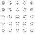 Circle face line icons with reflect on white vector image vector image