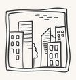 cityscape doodle sketchy pen and ink drawing vector image
