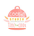 cooking studio time to cook logo design kitchen vector image vector image