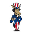 Democrat Donkey Mascot Thumbs Up Flag vector image vector image