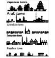 detailed skylines of different towns vector image vector image