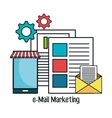 e-mail marketing flat line icons vector image
