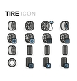 flat tire icons set vector image vector image