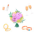 flowers bouquet wedding bride vector image vector image