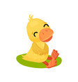 funny smiling little yellow duckling character vector image