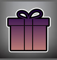 gift box sign violet gradient icon with vector image