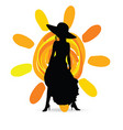 girl in dress with sun silhouette vector image vector image