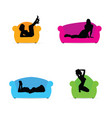 girl posing on the armchair and on the sofa vector image vector image