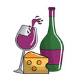 glass splashing and bottles wine and cheese icon vector image vector image