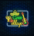 glowing neon sinco de mayo holiday sign in vector image