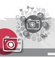 Hand drawn photo camera icons with icons vector image vector image