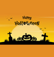 happy halloween yellow background with grave vector image