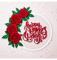 happy womens day lettering with frame red vector image