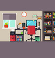 home office in flat style vector image