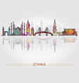 istanbul city background with cityscape silhouette vector image
