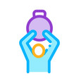 man hold weight icon outline vector image