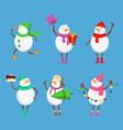 mascot design funny snowmen xmas vector image vector image