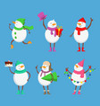 mascot design of funny snowmen xmas vector image