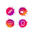 medical icons pills tooth dna and cardiogram vector image