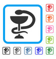 medicine snake emblem framed icon vector image
