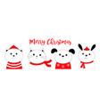merry christmas bunny rabbit cat kitten dog puppy vector image