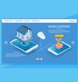 mobile banking website landing page design vector image vector image