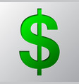 paper art of the green symbol of dollar currency vector image vector image