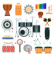 percussion musical instruments in flat vector image vector image