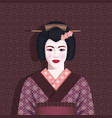 portrait geisha in kimono vector image