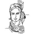 portrait of a woman in headscarf vector image vector image