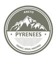 Pyrenees Mountains - Snowbound Aneto peak round vector image vector image