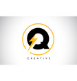 q letter logo design with lighting thunder bolt vector image