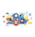 remote team working concept workers webcam group vector image vector image