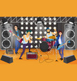 rock band on stage musical group cartoon vector image vector image