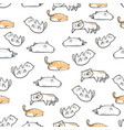 seamless pattern cute cat cartoon with hand drawn vector image vector image