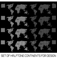 set halftone continents for design vector image